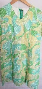 Women's 1970s V Neck, Short Sleeve, Dress